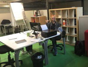 Giacomo enjoying the new office