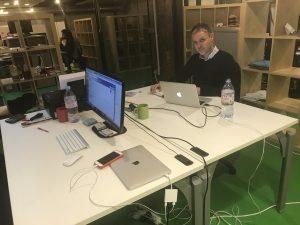 Patrick enjoying new office